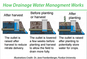 Utilizing a control structure (above or below the ground), farmers with Drainage Water Management Systems can decide when and to what extent they want their tile systems to operate.  Drainage Water Management drainage water mgmt illustration Frankenburger